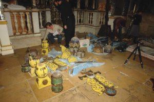 Начало реставрации мозаичных киотов в Храме Рождества Иоанна Предтечи что на Пресне