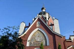 Троицкий Храм г. Щелково. Северный фасад с мозаичной иконой