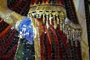 Мозаичная икона Умягчение злых сердец. Фрагмент мафория Богородицы