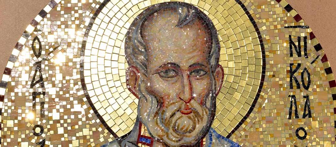 Николай Чудотворец. Икона мозаичная для ниши Храма