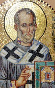 Икона из мозаики Николай Чудотворец для ниши Храма. Фрагмент