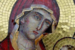 Богоматерь Шуйская. Лик Богородицы. Мозаичная икона