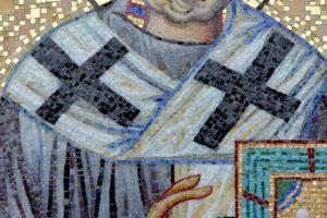 Икона из мозаики Николай Чудотворец. Фрагмент