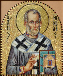 Мозаичная икона Николай Чудотворец для стены Храма