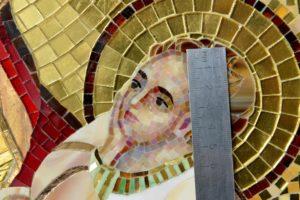 Икона из мозаики. Фрагмент. Лик Христа